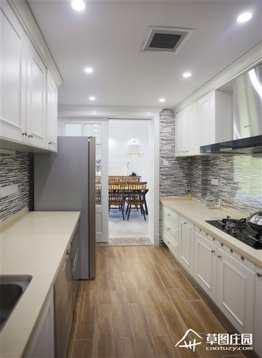 简美厨房岛台效果图